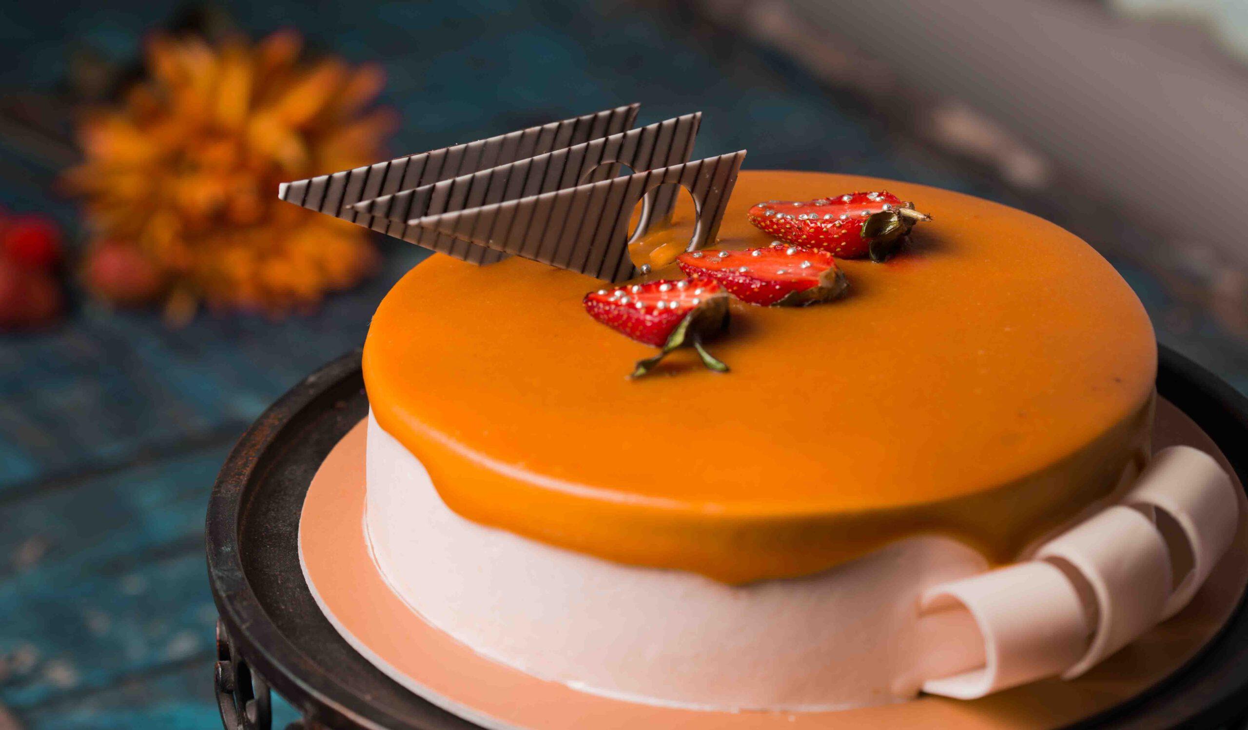 cake with slice strawberry fruits